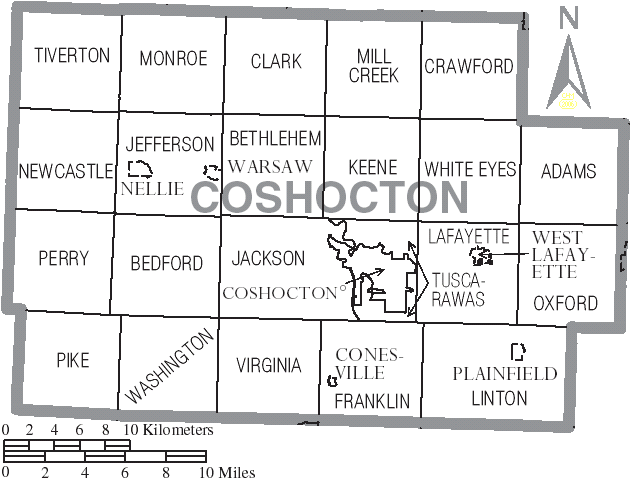 Image:Coshocton, Ohio, United States Map of Townships.PNG