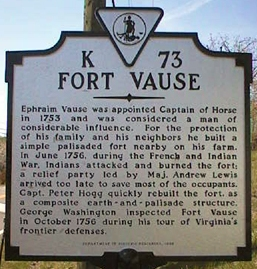 Fort Vause Marker, which is located on what is now Shawsville, Montgomery County, Virginia