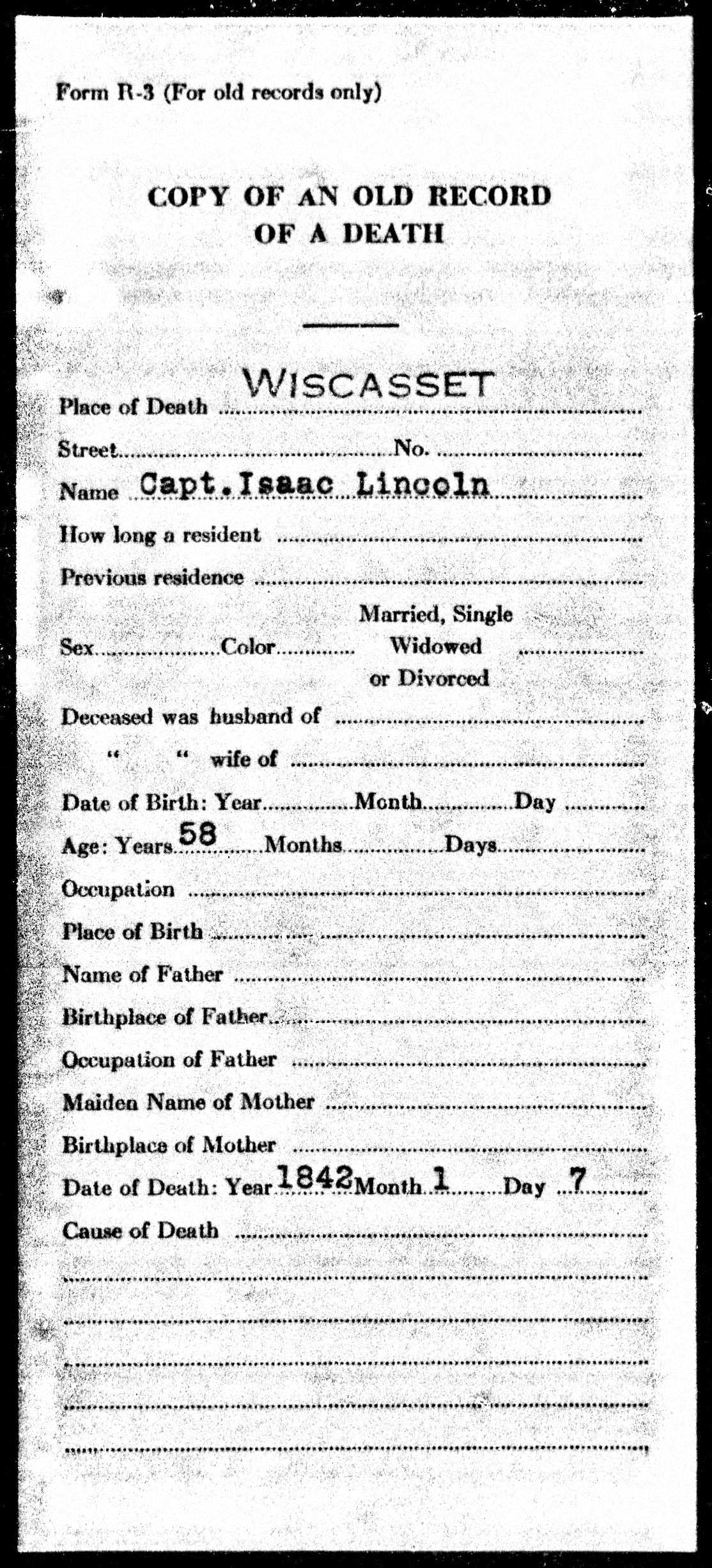 Image:Capt. Isaac Lincoln Maine Death Record 1842.jpg