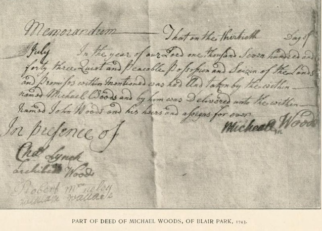 Image:Deed from Michael Woods (1) to son John, 1743.jpg