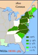 Distribution of WIllis HOH in the United States in 1810