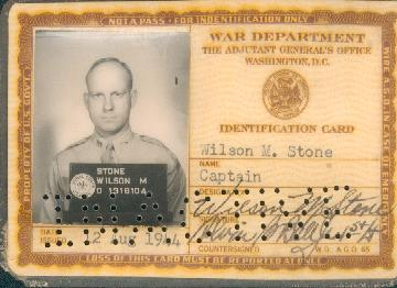 Wilson's War Department ID card