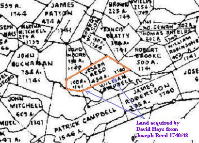 David Hays' land (Beverley Manor SW, 454 acres, acquired from Joseph Reed in 1748 as listed below) as shown on the map meticulously drawn by J.R. Hildebrand, cartographer. This map is copyrighted©, used by permission of John Hildebrand, son of J.R. Hildebrand, April, 2009.