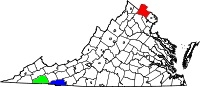 Key: Red--Loudon County; Green--Washington County; Blue--Grayson County