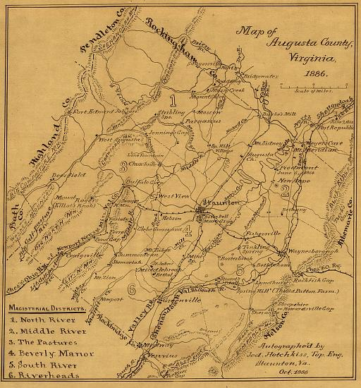 Map of Old Augusta County 1886