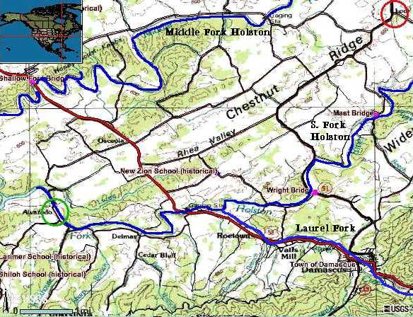 The McSpadden's settled on the Laurel Fork of the South Fork of the Holston.  Moses McSpadden is known to have settled near the mouth of Laurel Fork where it enters the South Fork of the Holston.  Three other McSpaddens (Archibald, Samuel, and Thomas) settled upstream along the Laurel Fork.  Around 1840 a James McSpadden married to Elizabeth Lyle Walker, is described as living in Alvarado (green circle); James apparently inherited the lands of one of the Laurel Creek McSpaddens, but was not apparently a descendant, coming to the area from Rockbridge County. [3] n  The Edmondson family settled throughout the area between the MIddle and South Fork of the Holston. The Family Patriarch, Col. William Edmiston, settled at Lodi (red circle), a few miles to the north of the Laurel Fork.  There are reasons to suspect that the McSpadden's were members of the large, extended Edmondson family.  Some speculate that Thomas' mother was Dorthy Edmiston, daughter of Robert Edmiston who settled south of Timber Ridge on Borden's Grant.  This was the same area where lived Thomas McSpadden, presumed father of the Thomas that settled on Laurel Fork.
