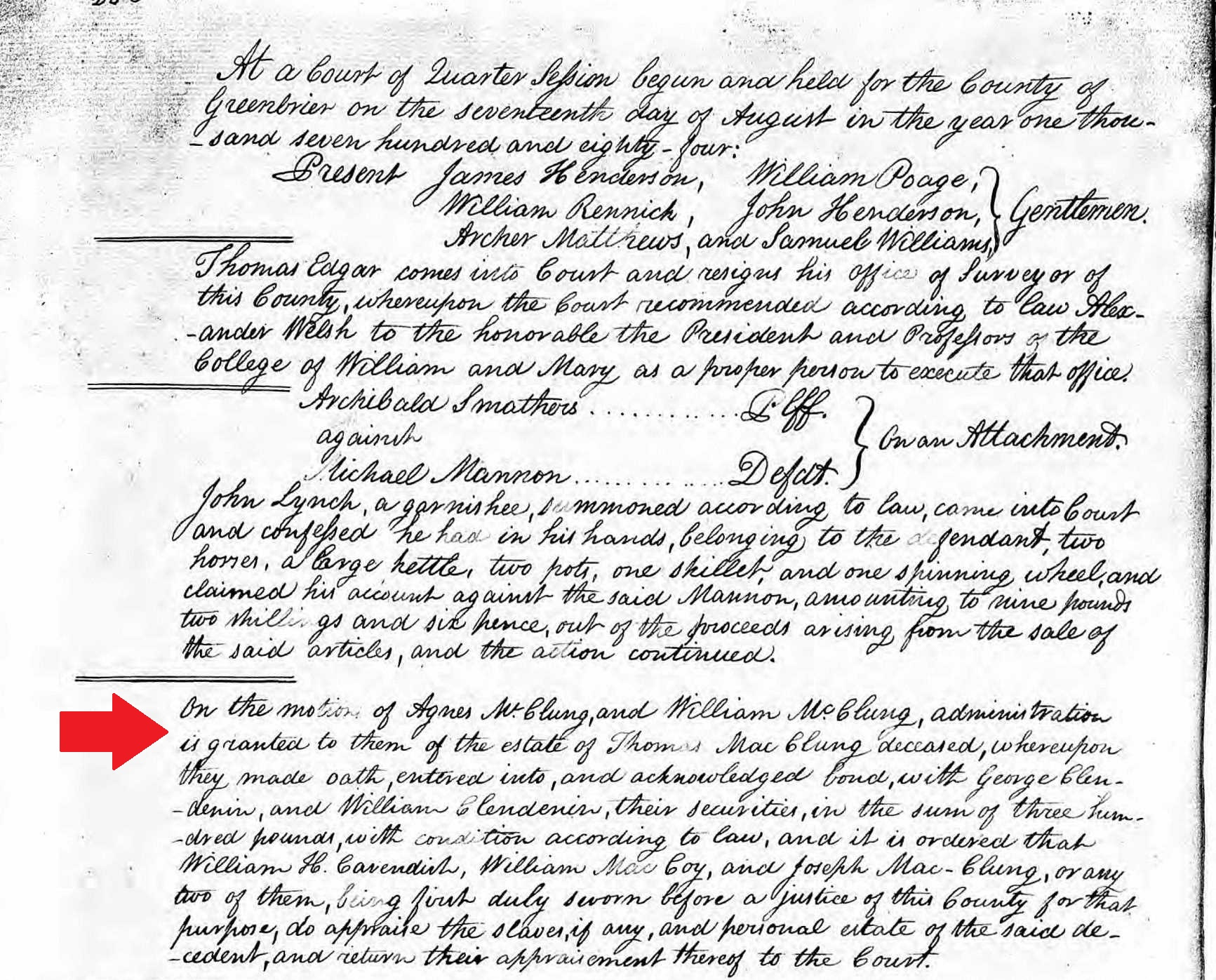 Image:Thomas McClung decd 17 August 1784 Greenbrier Court Minutes.jpg