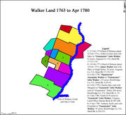 "Land transactions of the Walker family on Walkers Creek from 1763 to April 1780. Note the legend above is in error. Number 3 was sold to ""Gunsmith"" John Walker not his father ""Gunstocker"" John Walker"