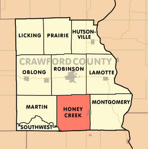Map indicating the location of Honey Creek Township in Crawford County, Illinois