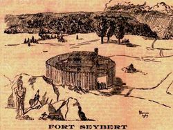 Drawing of Fort Seybert, which is located on the South Branch of the Potomac River in what is now Pendleton County, West Virginia