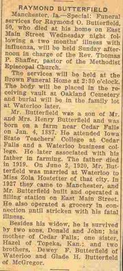 Obituray of Raymond Butterfield