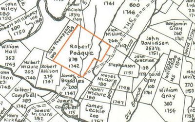 Robert Poage's land (Borden Tract SW, 378 acres, 1742) as shown Hildebrand's Map
