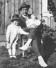 Ed Mayer with Reece, baby, 1920