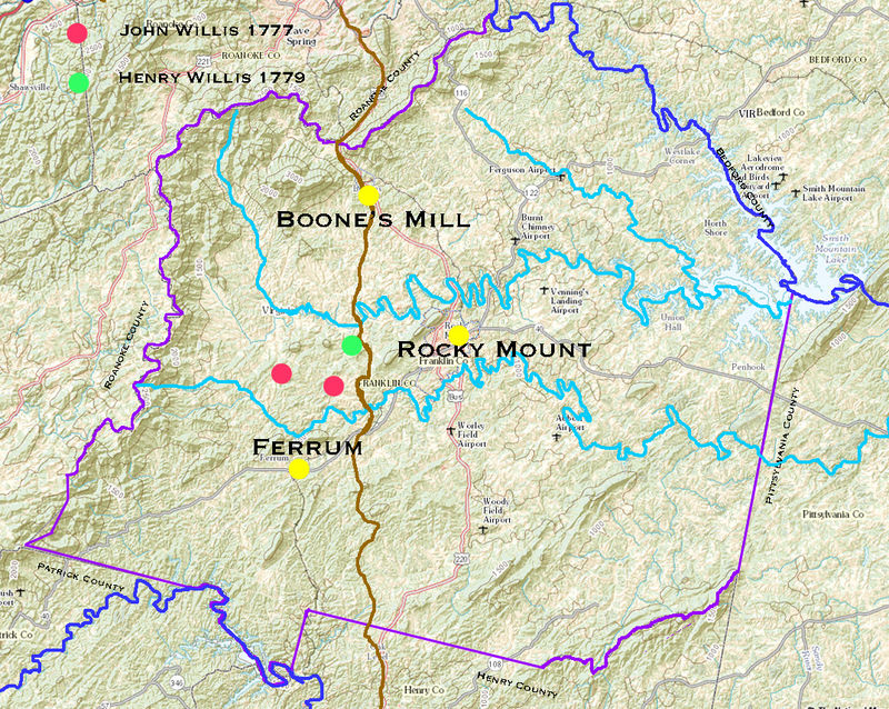 "Brown line represents the ""Great Road"", aka ""Carolina Road"".  The river along the northeastern  border of Franklin County is the Roanoke.  That on the southwestern border is ""Smith River"""