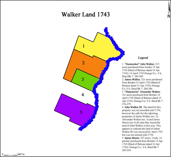 Original land purchases by members of the Walker family on Hays Creek, later Walkers Creek