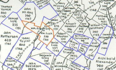 Processioning List of 1760 showing some of the surrounding tracts mentioned in the list around William Lusk's property (There were also other properties sold by the original owners listed on the map). This map is copyrighted©, used by permission of John Hildebrand, son of J.R. Hildebrand, April, 2009