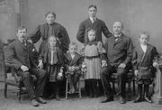 "Panaro Family, ca 1907. L-R, Back row (standing): Unknown widow from Italy (unrelated) ; Carmen Panaro. L-R, Front row: Giuseppe ""Joe"" Panaro (seated) ; Theresa Panaro (d/o Joe) ; Rafael Panaro ; Theresa Panaro (d/o Vincent) ; Vincent Panaro ; Peter Panaro"