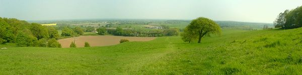 Panorama photo showing part of the Cheshire Plain looking from the Mid-Cheshire Ridge