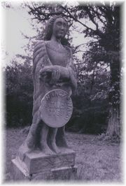 Statue of Nancy Ward placed on a white woman's grave in Arnwine Cemetery near Liberty Hill, TN