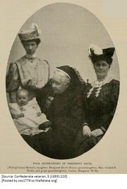 Four Generations of President Davis. Wife Varina (Howell) Davis; daughter Margaret (Davis) Hayes; granddaughter Mrs. Gerald B Webb; and great-granddaughter, Varina Margaret Webb