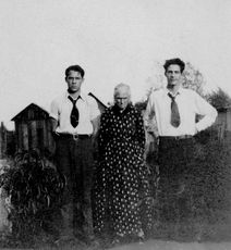 Margaret, age 77, in 1930 with grandsons Gayle and Garrett.