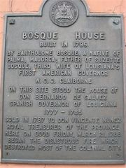 Plaque on the historic Bosque House, New Orleans