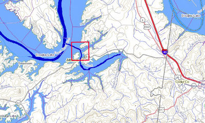 "Approximate location of Andrew Cowan's property ""above the mouth of Indian Creek"".  Area within the red box is slightly less than 400 acres."