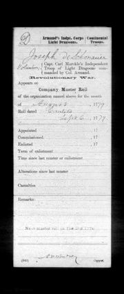 Extract of Company Muster Roll (Aug 1779)