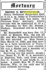 Obituary of Henry Nathaniel Butterfield