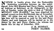 Formal notice of the dissolution of the partnership of Ellis, Munday, and Clarke, in the London Gazette of 12 December 1916.