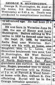 Obituary of George R. Huntington