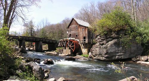 Glade Creek Grist Mill, Babcock State Park, WV.   This is a nice photograph of an overshot mill,  similar to many of those that would be seen in Southwest Virginia.