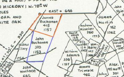 James Buchanan's land (Borden Grant NE Section, 415 acres) as shown on the map meticulously drawn by J.R. Hildebrand, cartographer. This map is copyrighted©, used by permission of John Hildebrand, son of J.R. Hildebrand, April, 2009.  Land of John Buchanan, sold to James McKown/McCoun in 1755, is adjoining this tract to the south.