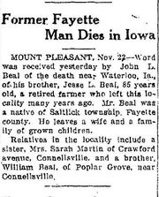 Obituary of Jesse Lichty Beal Connellsville Courier