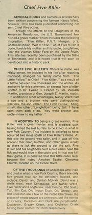 Chief Fivekiller article