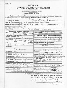 Facsimile of death certificate