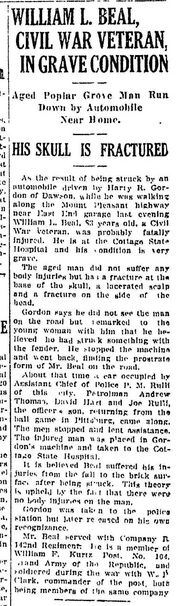 William Beal Struck by Automobile