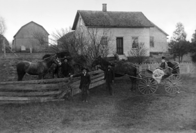 The Banks family at their home in Camden, Michigan sometime between 1886 and 1892.