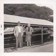 Charles and Ina Beal at the Elk Boat Line in McGregor, IA.  The Chris Craft Continental in the backgroudn was built in 1955.  Both the boat line & boat were owned by Alan Butterfield.
