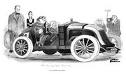 "Charles Addams's passion for fancy cars is evident in his cartoon ""The Family Goes Racing,"" featuring Uncle Fester at the wheel with Wednesday on his lap, the wraith-like Morticia and Lurch at left, Pugsley, and Grandma and Gomez to the right."
