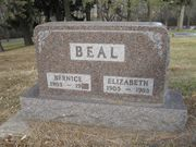 Tombstone of William Bernice and Elizabeth (1st wife) Beal