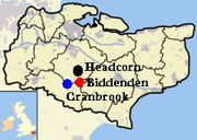 Location of Headcorn, Cranbrook, and Biddenton in Kent, England