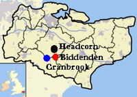 Location of Headcorn, Cranbrook, and Biddenden in Kent England