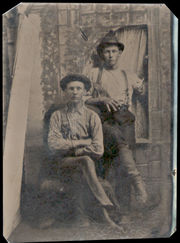 Recently discovered tintype in Globe, Arizona may be brothers Billy the Kid (standing) and Joe Antrim (sitting).