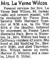 Obituary of Luverne Beal Wilcox