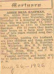 Obituary of Abbie Beal Eastman