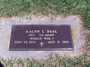Military Tombstone of Ralph Beal at Round Lake Cemetery, MN