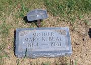 Tombstone of Mary Kistner Beal at Round Lake Cemetery, MN