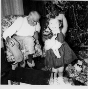 Edward Karl Reeves, sr. with granddaughter, Grace Reeves, Christmas, 1949