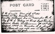 Back of post card showing with family information written by Robert M. Daniels, about 1890